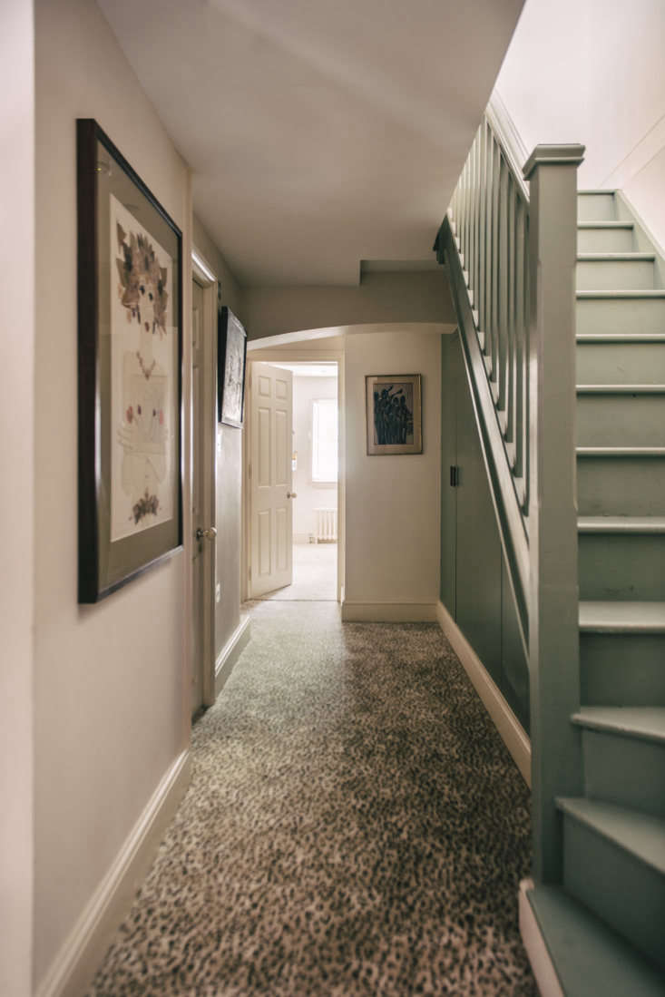 A fun leopard print carpet from Stark in a hallway.