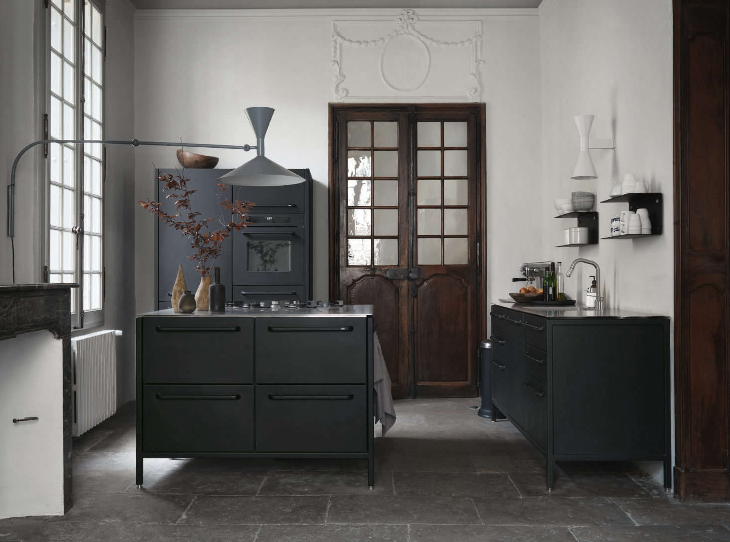 Three Vipp modules make up the kitchen. The legs can be adjusted, a useful feature when you&#8