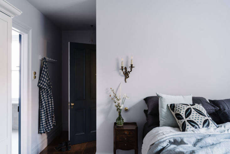 one of the cottage&#8\2\17;s bedrooms in shades of the palest lavender. we  23
