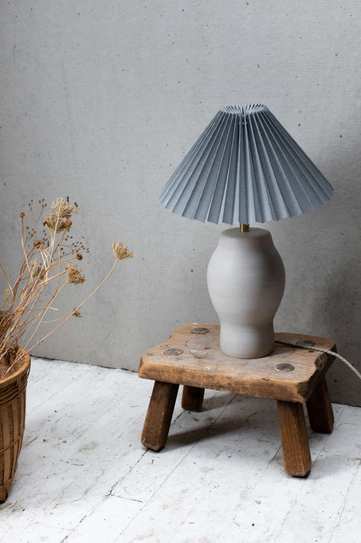 The Notary Lighting Collection #7 is handmade from sandy brown stoneware clay and has a soft matte clear glaze; $675.