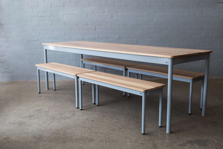 From Cape Town in South Africa, Pedersen + Lennard make the KPA Table ranging from a cafe size to a -seater available with a base in textured black, satin black, white, grey, and charcoal; prices starting at 5,940 ZAR ($33loading=