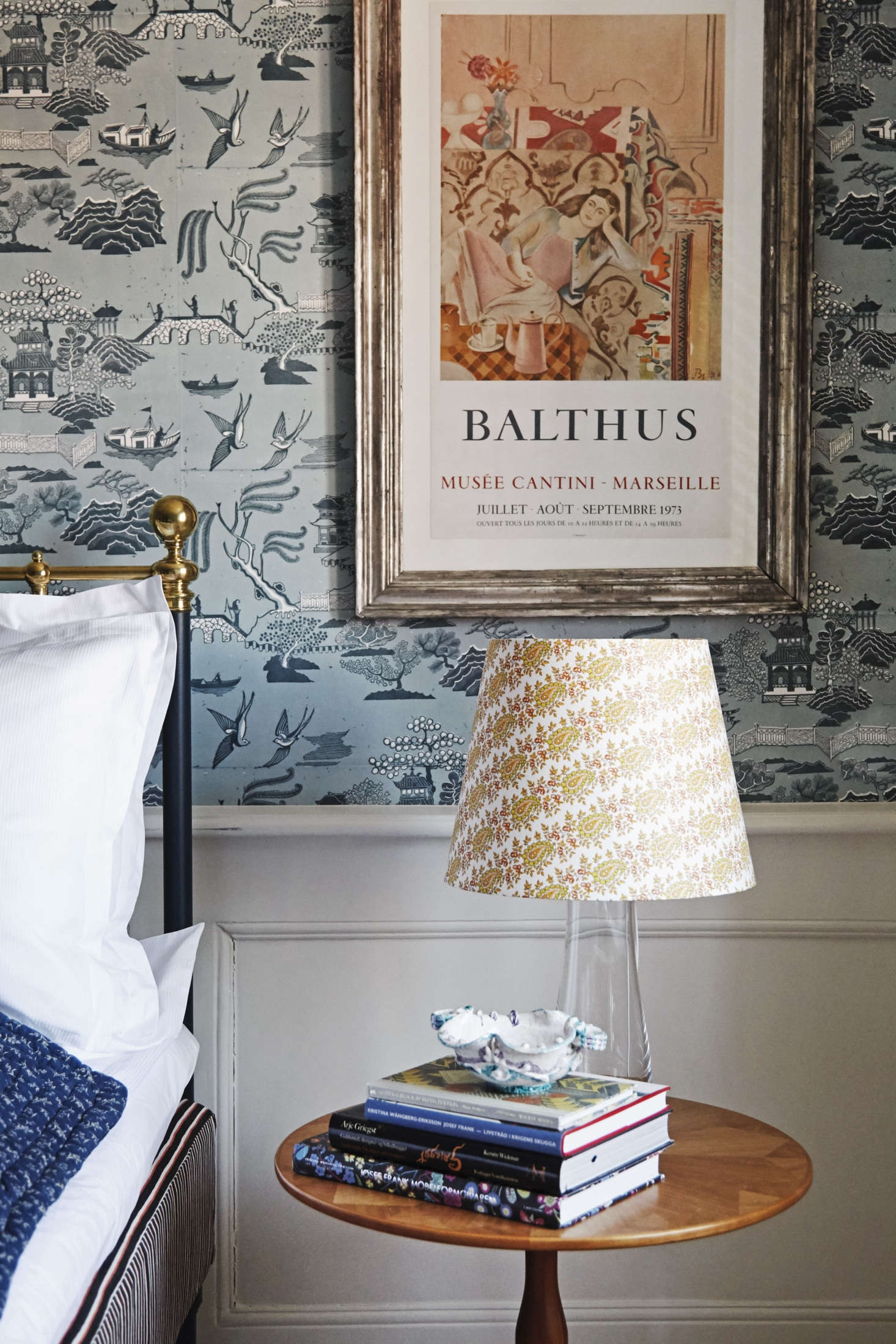 The bedside lights in both rooms are Artek Glass Table Lamps by Maire Gullichsen with custom shades by The Apartment: &#8