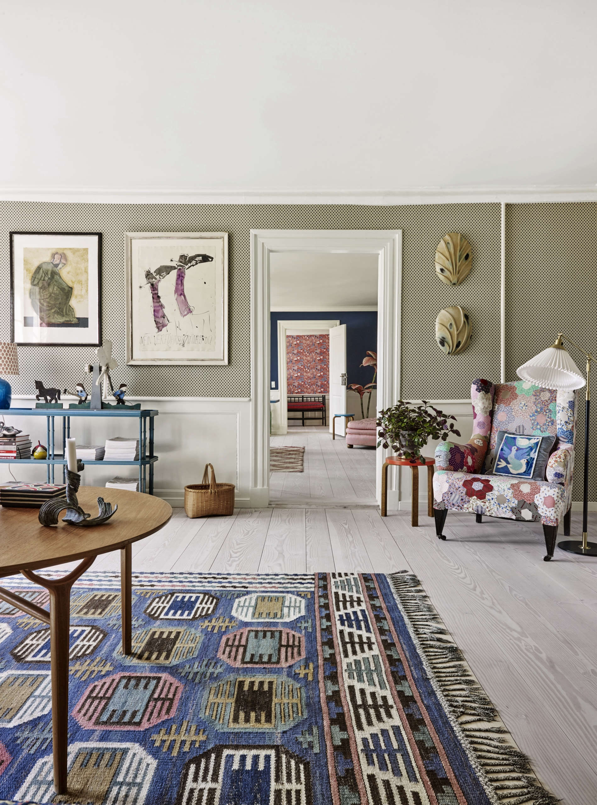 A wingback armchair with quilt upholstery at The Apartment DK&#8