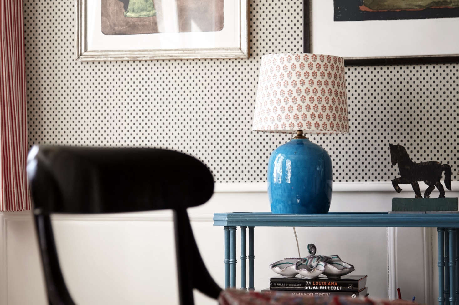 Old-fashioned table lamps with printed fabric shades are another Tina specialty: see Trend Alert: The Return of the Artfully Patterned Lampshade. The horse is part of an Americana whirligig.