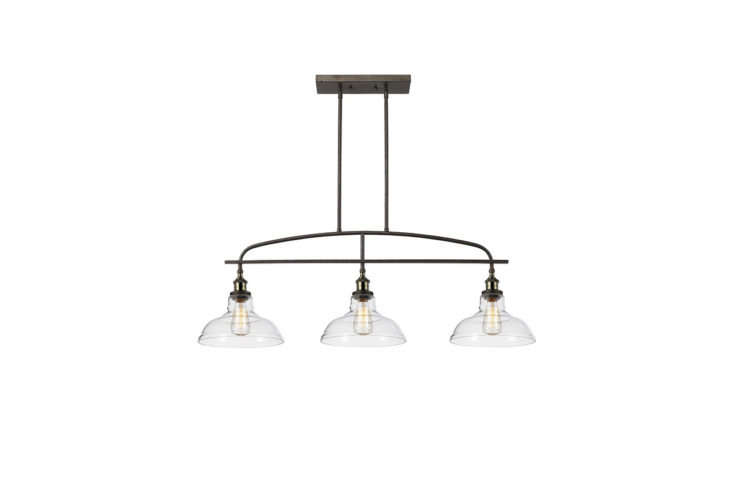 The slim-lined Industrial Kitchen Island Chandelier ($9) is well suited for hanging above a dining table or a kitchen island.