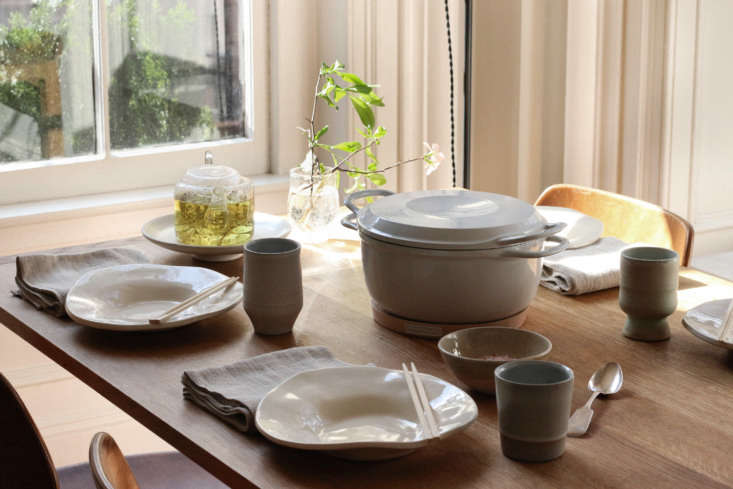 the table set for lunch. the classic dinner plates in gloss white are by chico, 17