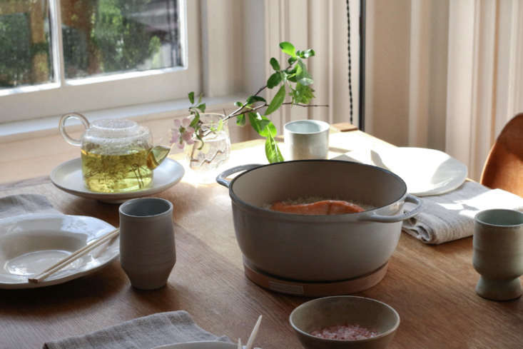 the vermicular enameled cast iron pot can go straight to the table using the wo 18