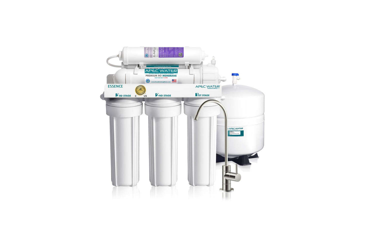 The APEC Water Systems Essence Under Sink Reverse Osmosis Drinking Water Filter System is an advanced 6-stage RO filtration system guaranteed to remove 99-percent of harmful contaminants and includes an additional re-mineralizing filter. The 6-stage system works via sediment pre-filter,