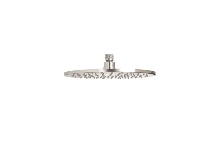 The industrial-looking Ultra-Thin Round Showerhead from California Faucets is available in four sizes: 6 Inch, 8 Inch,  Inch, and loading=