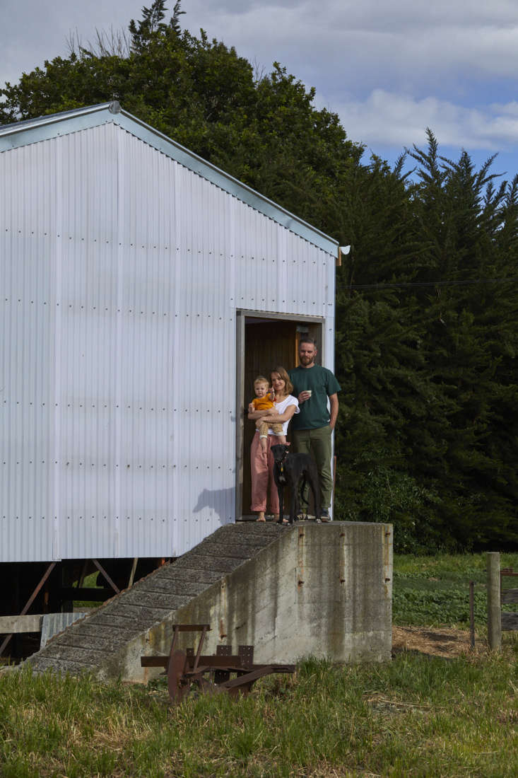 Dulia, Hattie, and Ben outside their shed. It&#8