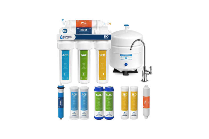 Above: The Express Water Reverse Osmosis Water Filtration System works via a 5-stage filtration system of sediment and carbon pre-filters, an RO membrane, and post-activated carbon filter. The system is also customizable with the option of additional UV water filters, alkaline re-mineralization filters, de-ionization fillers, and more. The system is priced at $9. on Amazon.