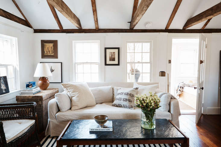 Another favorite feature: the wooden ceiling beams in the living room, the original &#8