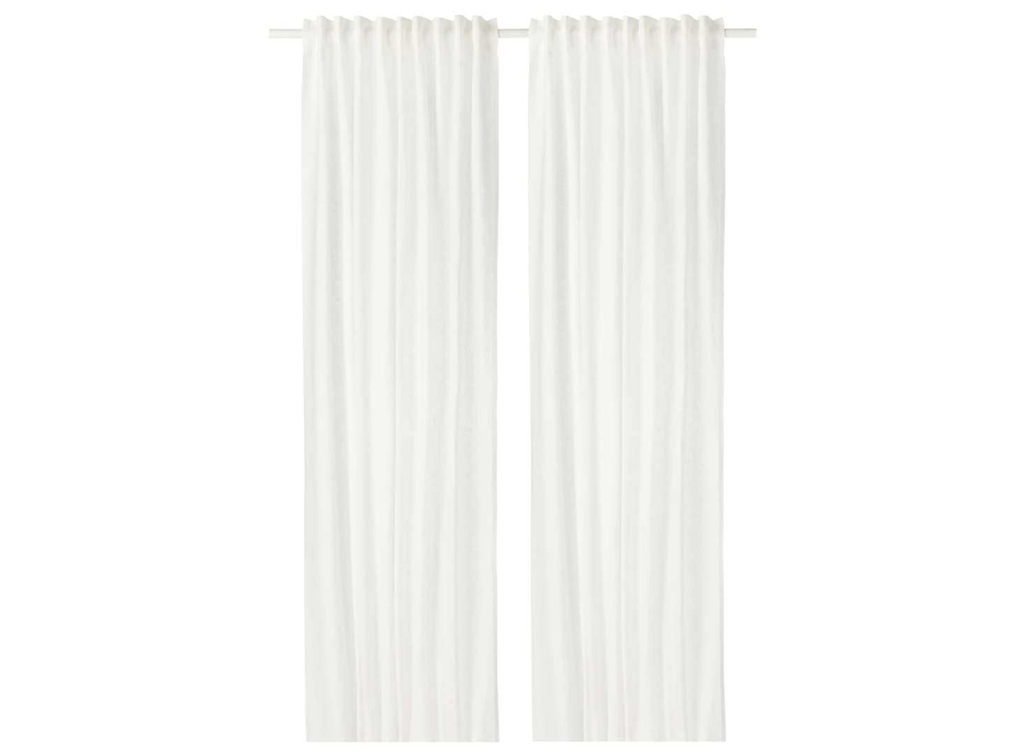 For a good budget option, the Ikea Aina Curtains in White are $59.99 for a pair and made of 0-percent linen.