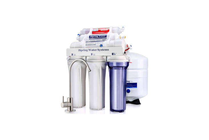 Above: The iSpring 6-Stage Superb Taste High Capacity Under Sink Reverse Osmosis Drinking Water Filter System is Water Quality Association (WQA) Gold Seal certified and filters up to 75 gallons of water per day. The 6-stage filter removes up to 99-percent of harmful contaminants and 98% of lead and includes an alkaline re-mineralization filter to better balance the pH of resulting filtered water. Filtration works with a sediment pre-filter, carbon KDF pre-filter, carbon block pre-filter, RO membrane, polishing GAC filter, and re-mineralization filter. The system is $9.49 on Amazon.