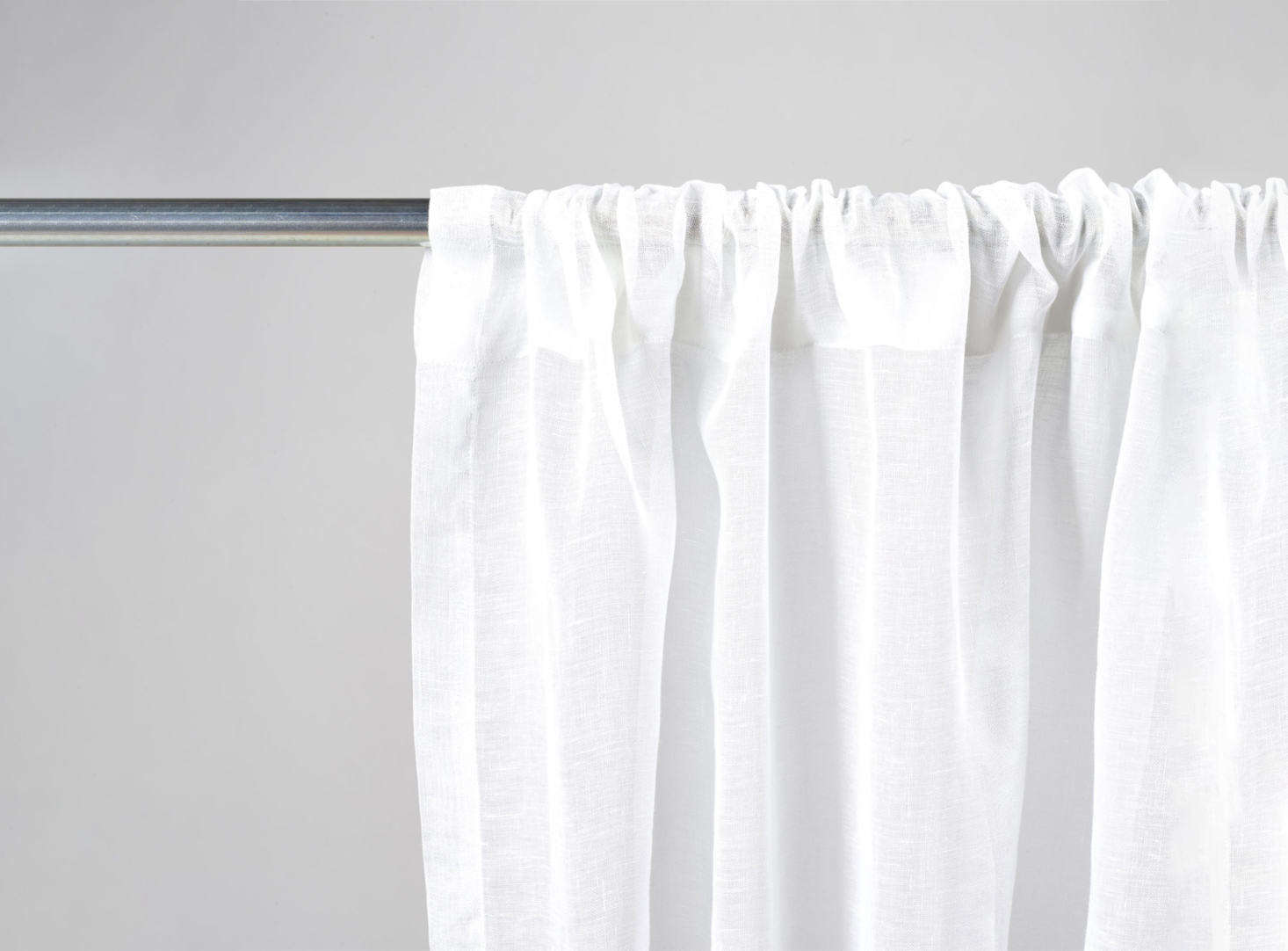From Libeco, specializing in Belgian linen since 58, the Casper Pole Pocket Drapery comes in White and White Sand for $