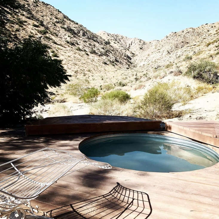Merchant House High Desert A SpanishStyle Oasis in the Mojave A stock tank pool was inserted into the multi tier deck for refreshing dips.