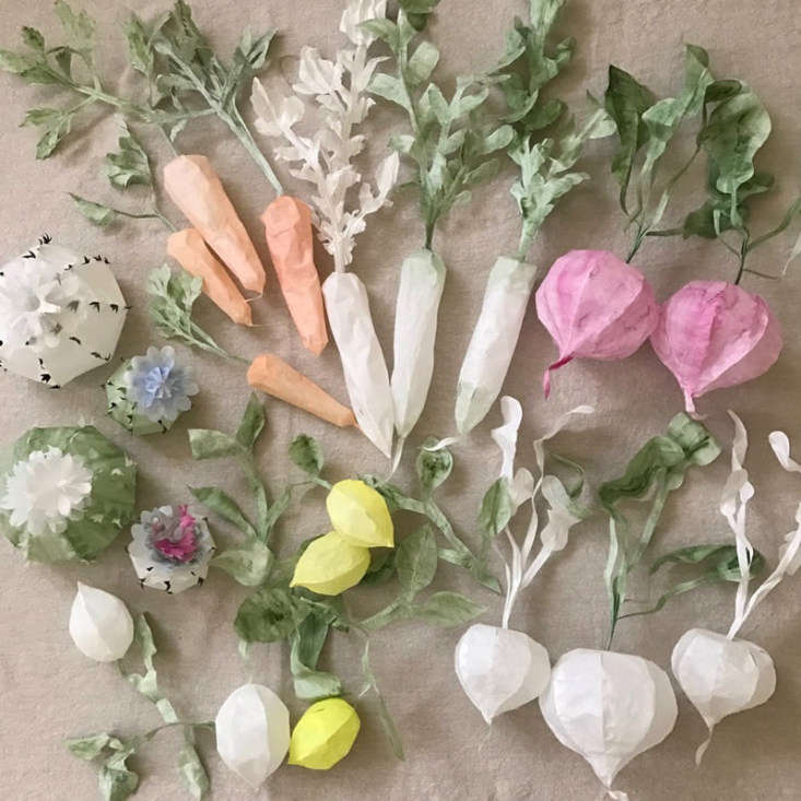 Berkeley-based artist Momoca Usagi offers a selection of Paper Plants, including paper lemons, daikon, radishes, and pomegranates; $8