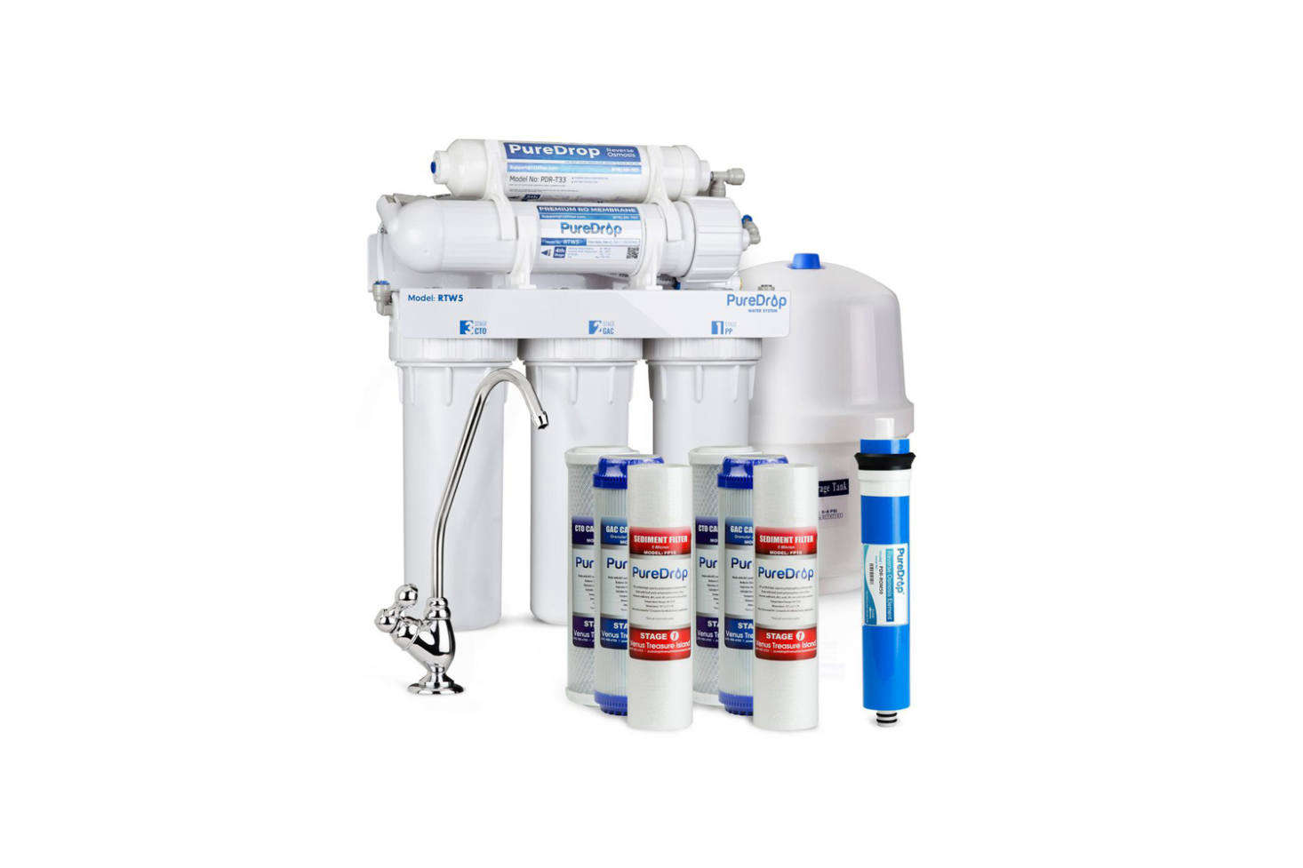 PureDrop 5-Stage Reverse Osmosis Water Filtration System with Pre-Filter