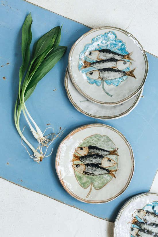 rebekah miles hand painted ceramics fish plates