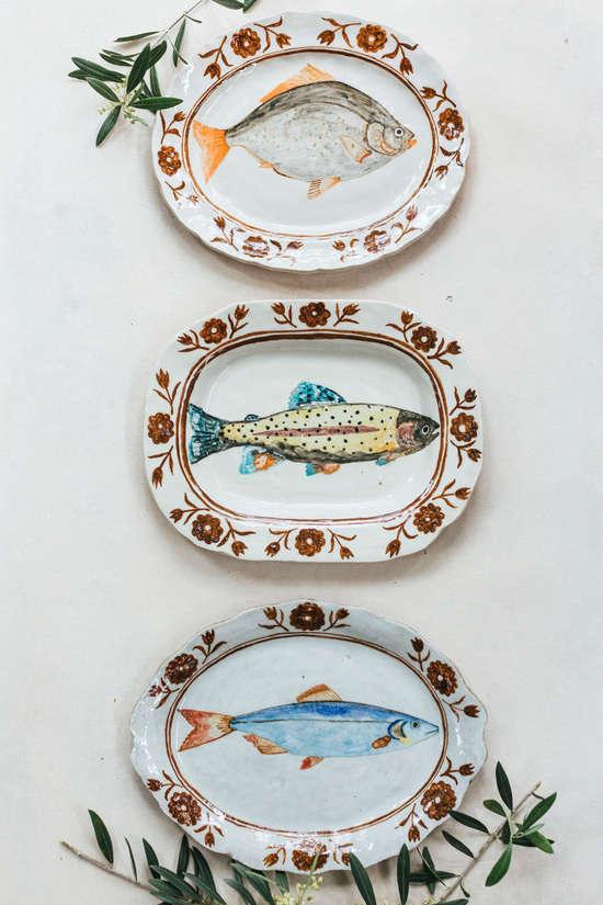 rebekah miles hand painted ceramics fish plates1