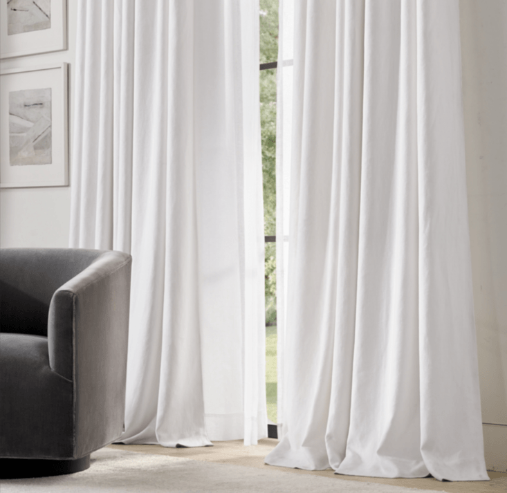 For a robust but soft linen curtain, Restoration Hardware&#8