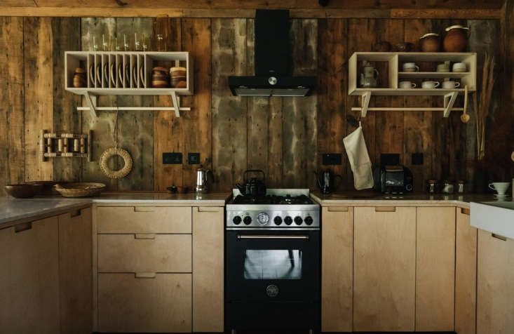 Retreat for Two A Lakeside Rental Cabin at Settle in Norfolk England The kitchen cabinets are from Ikea upgraded with custom birch plywood doors and drawers. The range is a Bertazzoni.