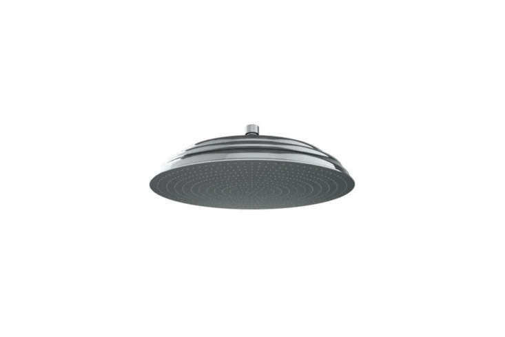 The Watermark Venetian Pan Rain Shower Head (SH-RH080) is a traditional-style rain shower head that comes in  different finishes including more rare finishes like Green Patina, Charcoal, and Polished Gold; starting at $685.50 from Quality Bath.