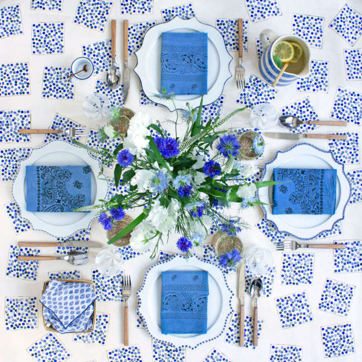 The finished product. White and blue dishes and serving ware complement the theme. The napkins are vintage bandanas from M.Patmos.