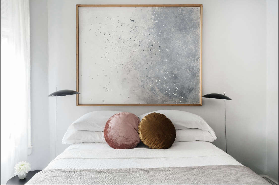 The round velvet pillows are from West Elm.
