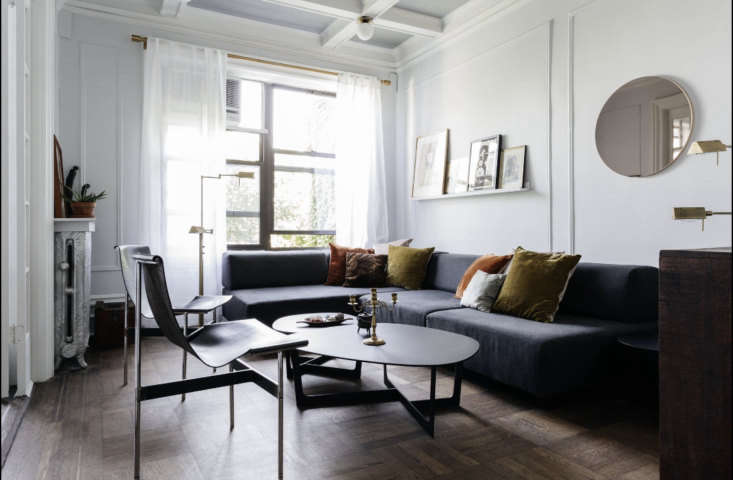 delia mixes new and vintage pieces in the living room. a west elm sectional pla 10