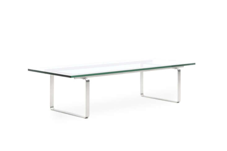 10 Easy Pieces Modern Glass Coffee Tables Designed by Hans Wegner for Carl Hansen & Son, the CH\108 Coffee Table is \$4,\205 at Hive.