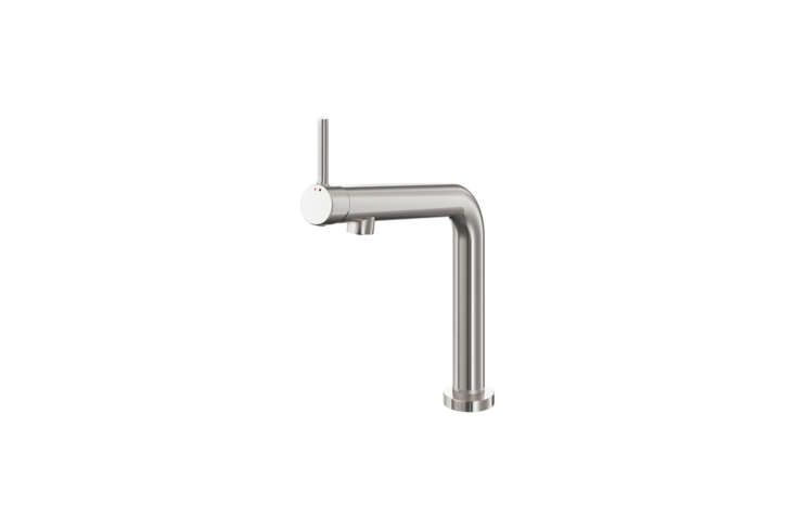 For a budget option, the simple Ikea Bosjon Kitchen Faucet is designed for a standard kitchen faucet but so sleek and simple that it would work just as well fitted to a bar sink. Shown in a stainless steel color plated over metal; $9 at Ikea.