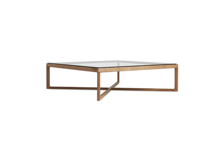 The Knoll Krusin Coffee Table designed by Marc Krusin comes in glass top with four options for a base; $loading=