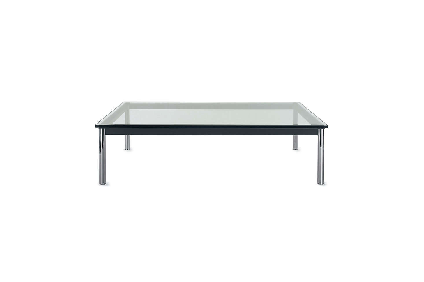 Designed by Le Corbusier for Cassina, the LC-P Low Table has chrome legs but comes in a range of frame options with a glass top; $src=