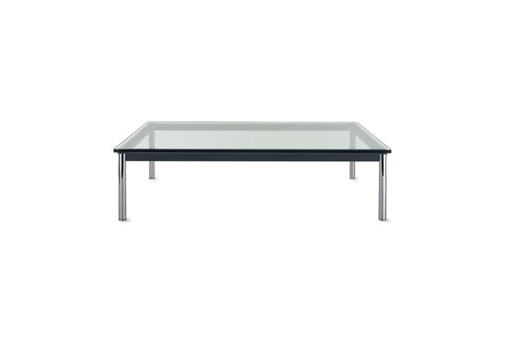 Designed by Le Corbusier for Cassina, the LC-P Low Table has chrome legs but comes in a range of frame options with a glass top; $loading=