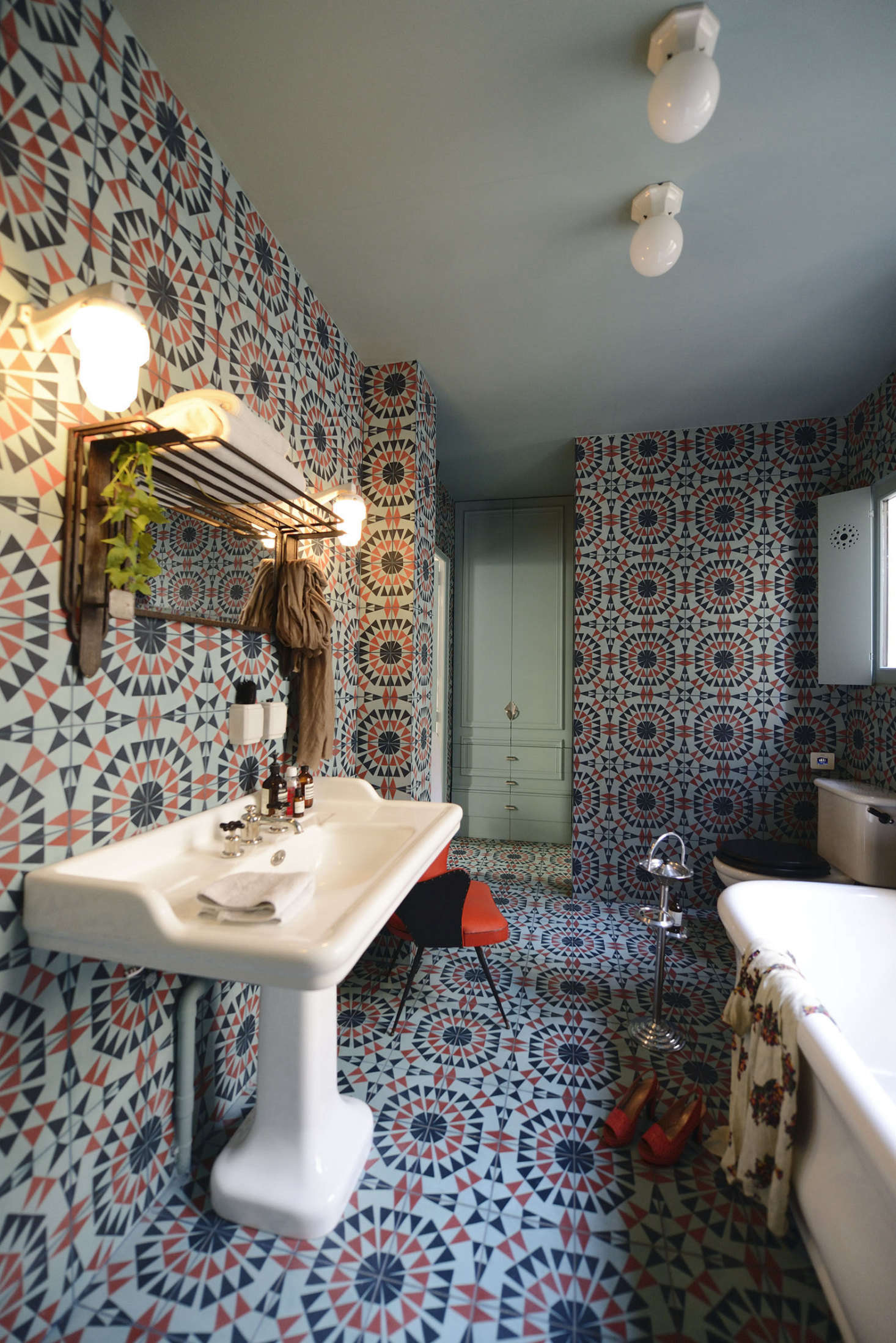 The cement tiles are in a pattern called Zocalo. Of the decision to tile not only the floor but the walls, Linde says the clients insisted: &#8