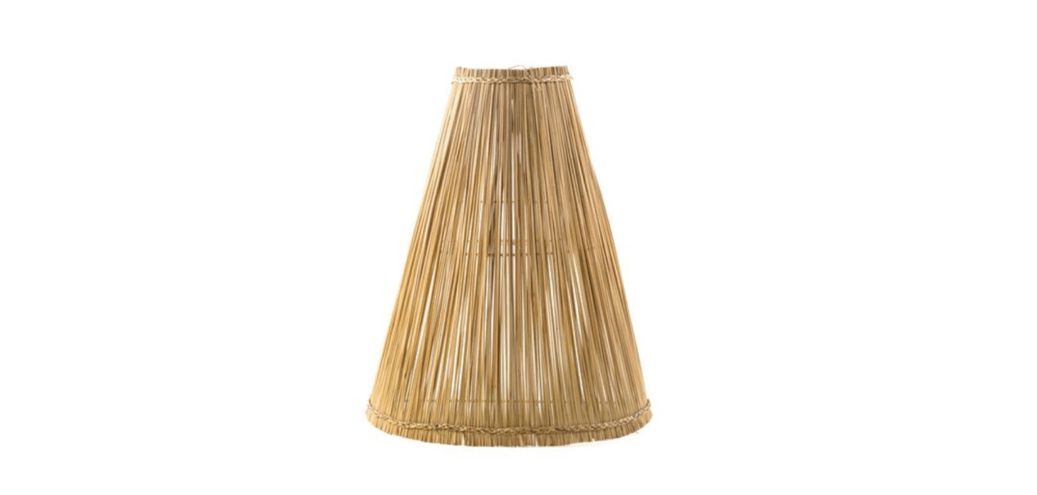 The Sconce Hela shade from Maison of Hand is made of bulrush over a metal frame; available in three sizes (prices start at $79 for the smallest).