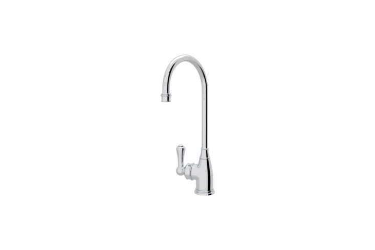 For a traditional look, the Rohl Georgian Era Single Hole Bar Faucet (U.4700) comes in five different finishes; $886.50 at Quality Bath.