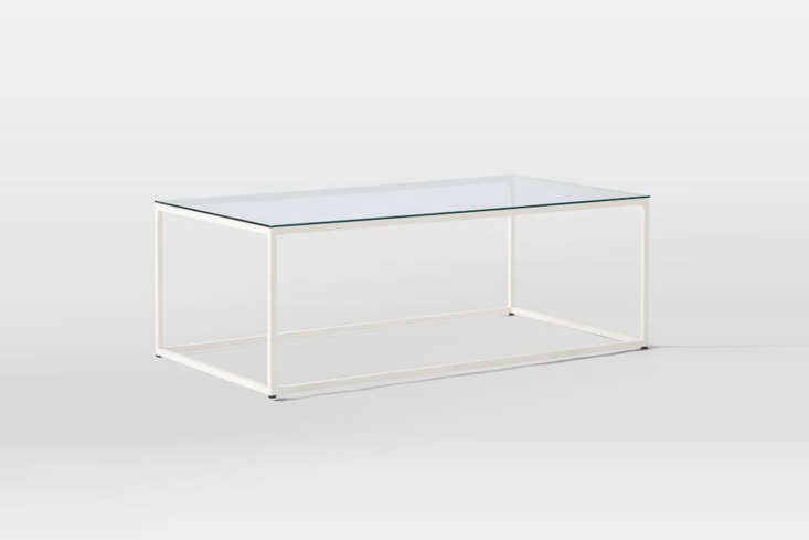 10 Easy Pieces Modern Glass Coffee Tables From West Elm, the Streamline Coffee Table in colored steel (shown in White) and glass, is \$399. It&#8\2\17;s also available in a bronze and chrome frames.