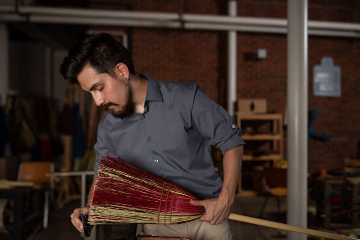 Crafts and Kinship Broom Making Weaving and More at Berea College in Kentucky Jared Pritt trims a Streamliner Broom, \$4\2 in a colorway called Harvest.