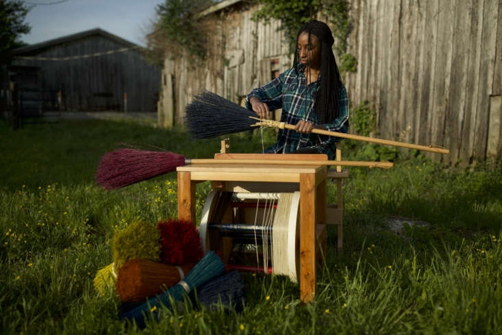 Jocelyn Oats weaves a Shaker Braid Broom, $55. There are loading=