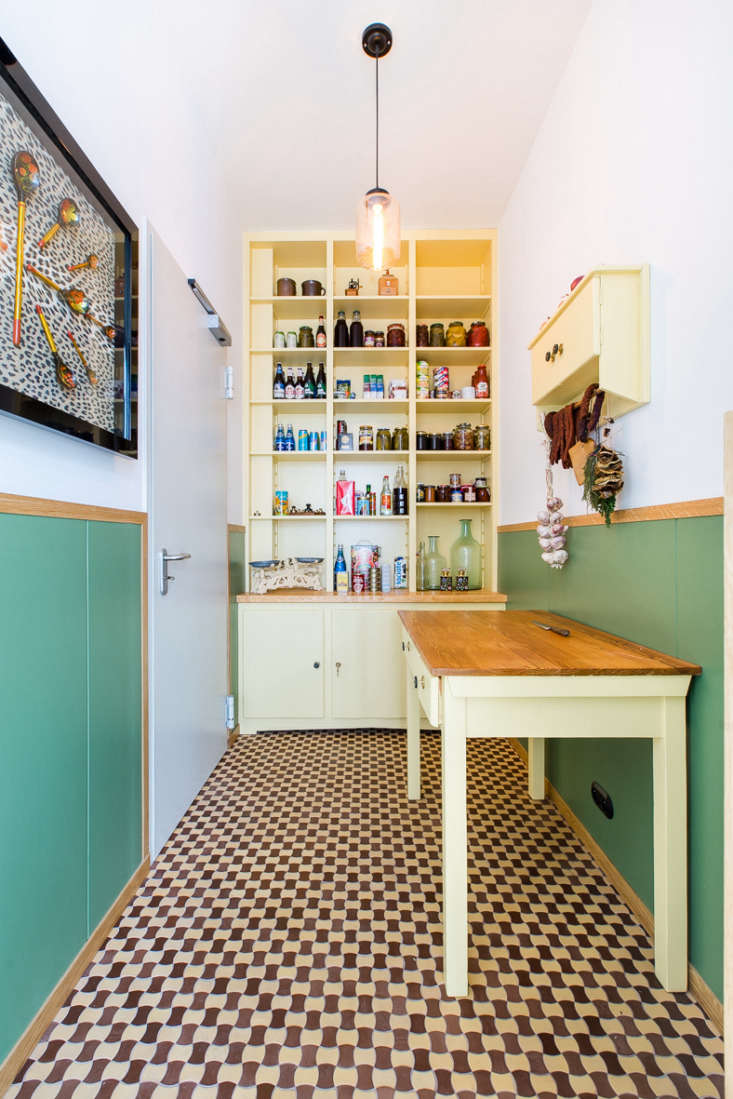 Inside the pantry, a surprise—a stubbornly old-fashioned larder. &#8
