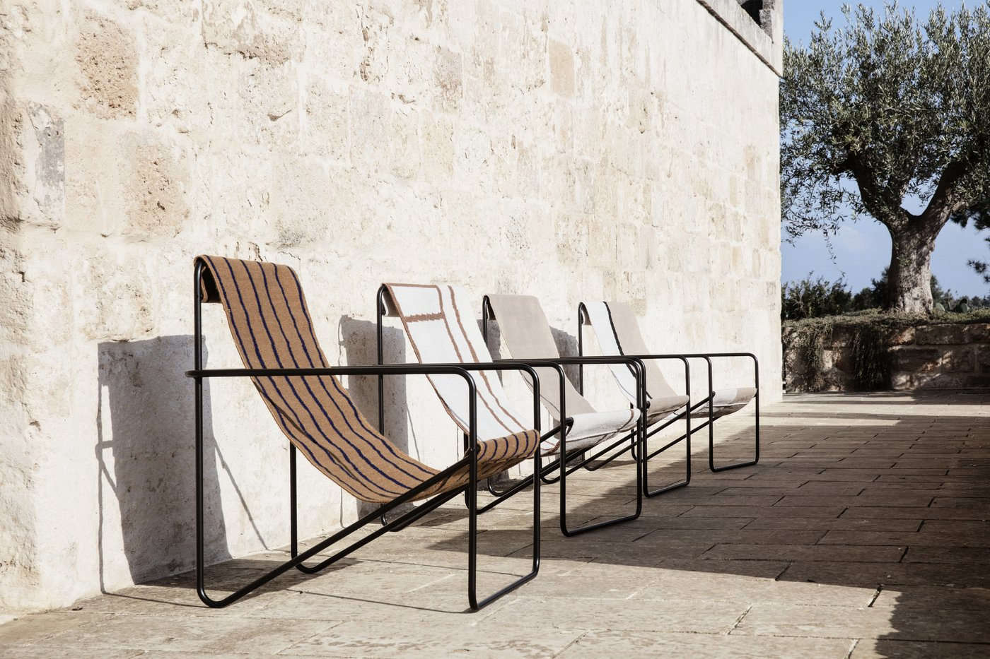 The chairs are available in a choice of covers, including stripes and solids.