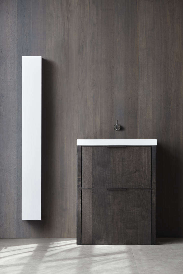 """Icicle is Frost's slim-lined cousin, a """"floating sliver"""" of a storage component, Henrybuilt says. It, too, is clean-lined and sleek, with a slender aluminum-fronted exterior and no pulls."""