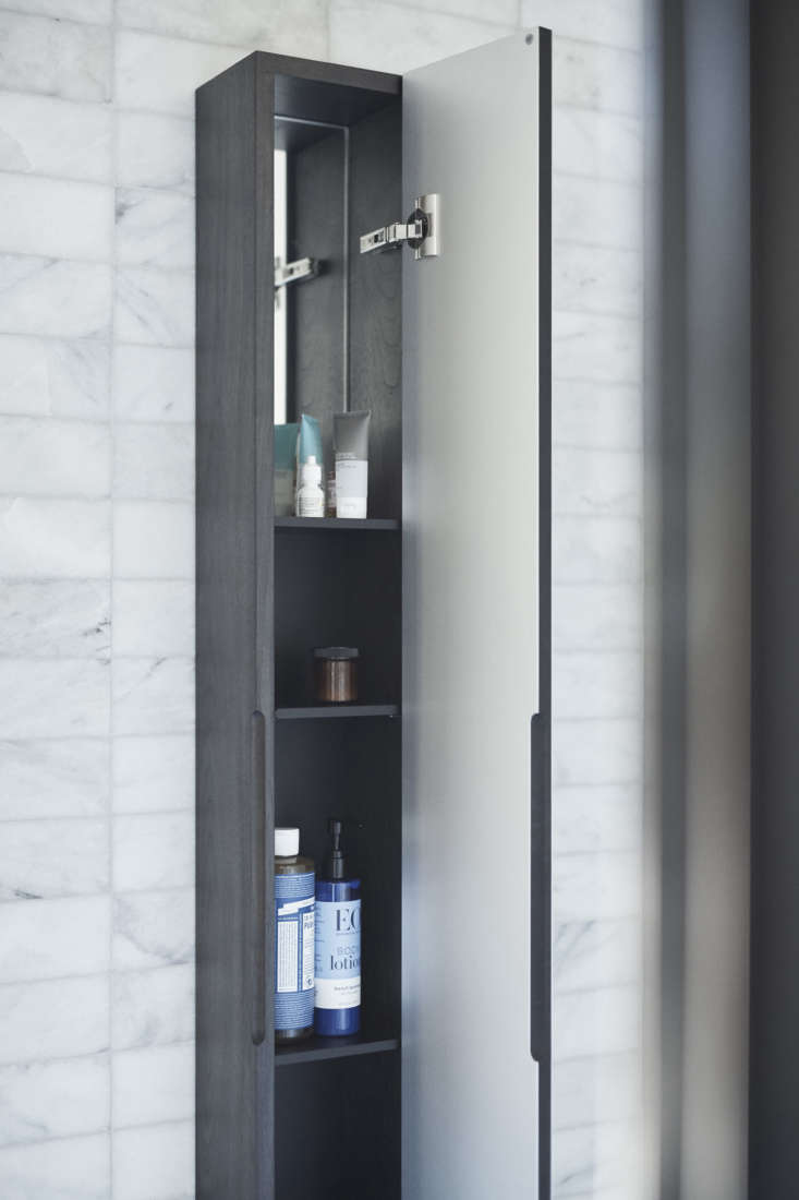 Icicle is also fitted inside with a mirror. Its slim profile makes it a fit for even the skinniest of spaces—beside a bath or shower, for example.
