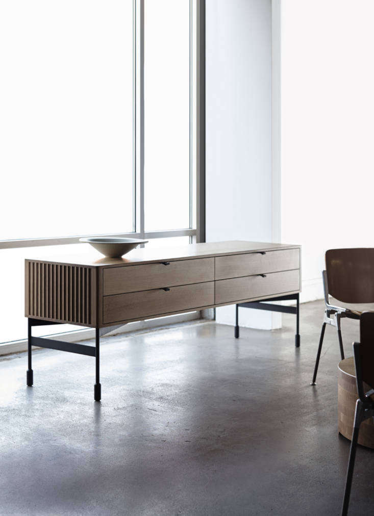 We also like the modernist but meticulously detailed Meadow Low component, with solid wood drawers, leather pulls, and a steel base.
