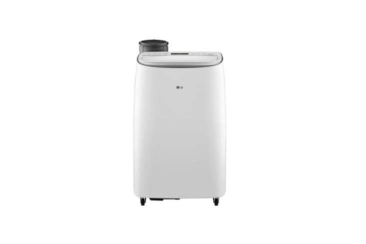 The LG (LPIVSM) Smart Inverter Portable Air Conditioner has a hose that connects in the back and tucks away when not in use; $699 at Appliances Connection.