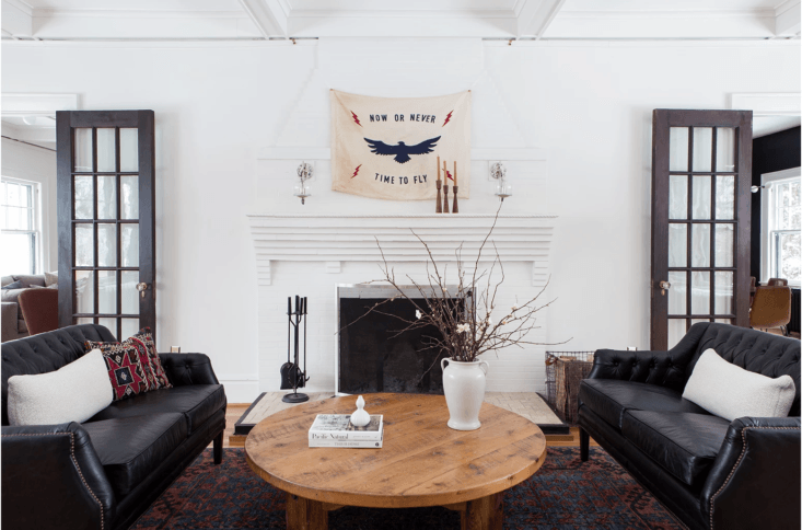 The Now or Never Flag ($350) by Beacon, NY-based Lost & Found Flag Co., pictured in a project by Staci Pfeffer Interiors. The flag has &#8