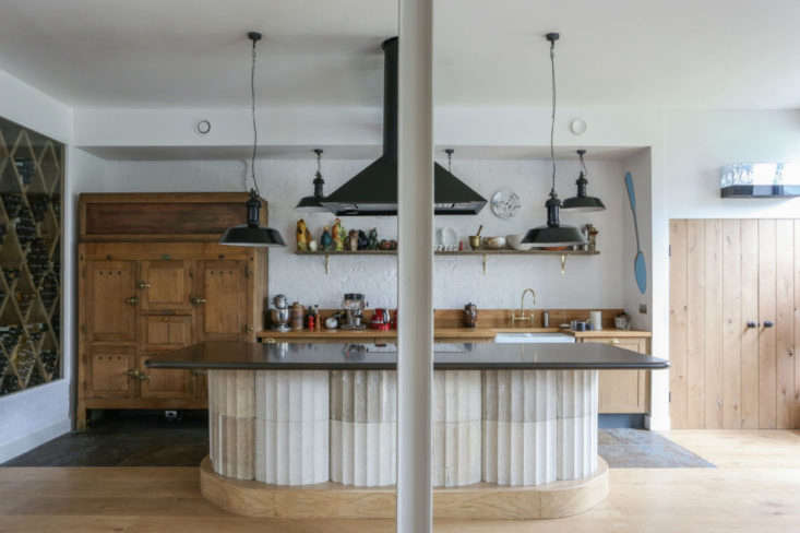 In his Bermondsey kitchen London restaurateur Mark Hix created an island out of salvaged cast concrete columns sourced from Remodelista favorite Retrouvius. Hix worked with &#8