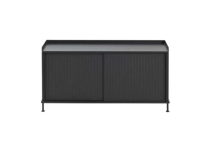 The Muuto Enfold Sideboard Low comes in black, oak/grey, and oak/dusty green for $